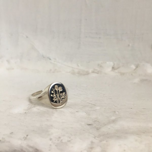 Claus Jewelry Wildflower Signet Ring - Recycled Brass or Silver