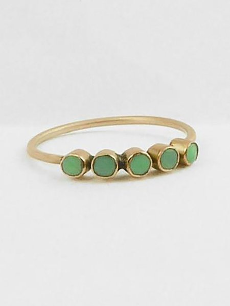 Bhoomki Faceted Five Stone Band - Chrysoprase
