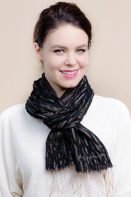 Sevya Revati Scarf, Pleated Silk & Wool - Black & Taupe