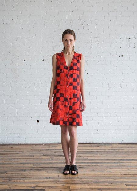 Raquel Allegra Tank Shirt Dress Red