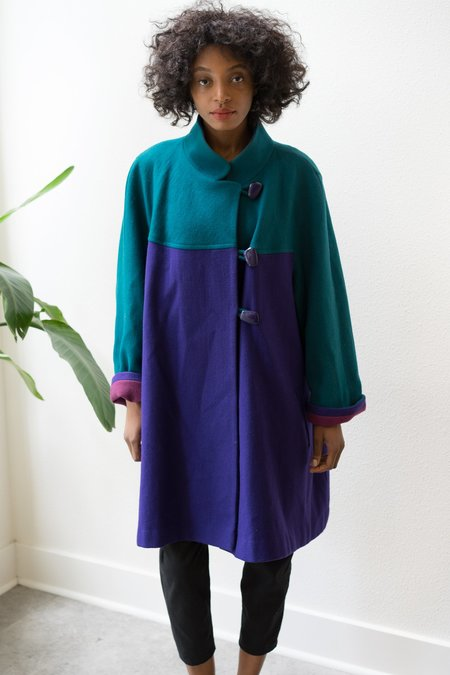 Backtalk PDX Vintage Color Block Geometric Statement Coat