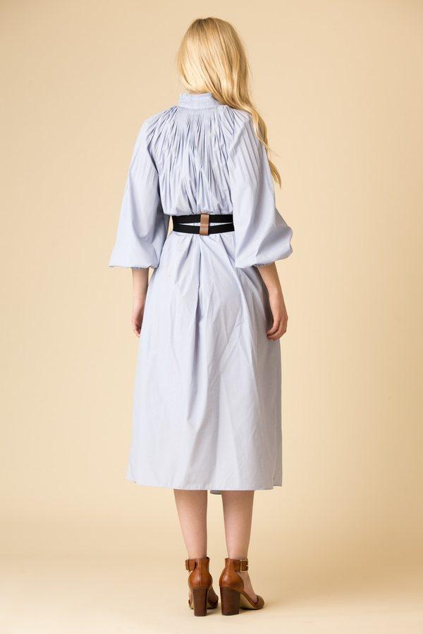 Tibi Isabelle Shirting Edwardian Dress With Belt