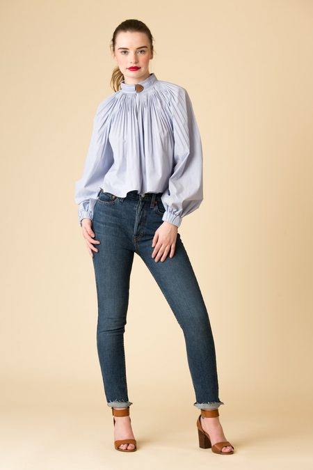 Tibi Isabelle Shirting Cropped Edwardian Top