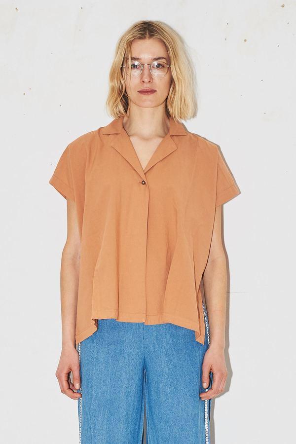 Black Crane Cotton Box Shirt - Coral