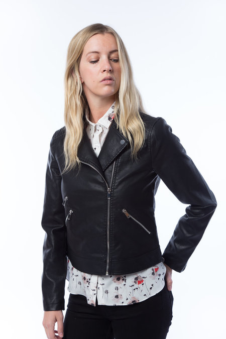 NOISY MAY Leather Moto Jacket - BLACK