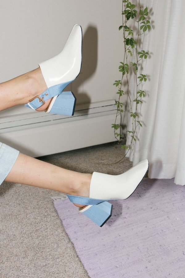 Suzanne Rae Sling Back Mules - White/Blue