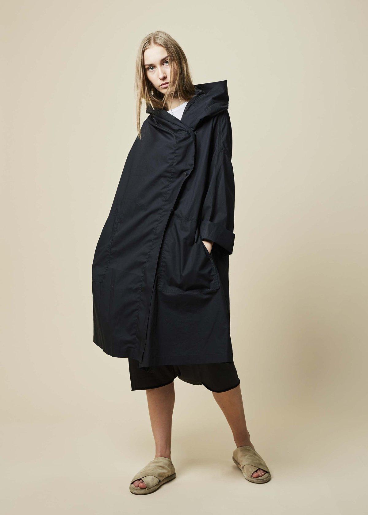20d811ee3 Raffauf Hooded Oversize Spring Coat - Black