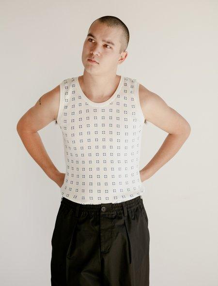 Marni Mens S/L Crew Neck Sweater - Milk Denim Squares