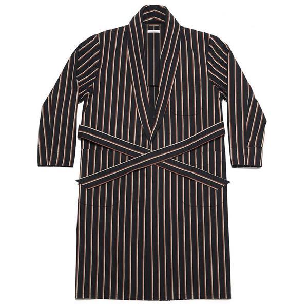 S.K. Manor Hill Dynasty Robe - Navy/Orange Stripe