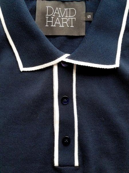 David Hart Navy Tipped Polo Sweater - Navy
