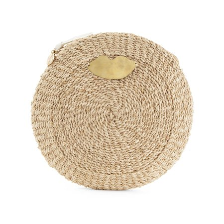 Clare V. Woven Circle Clutch in Cream Woven Maison