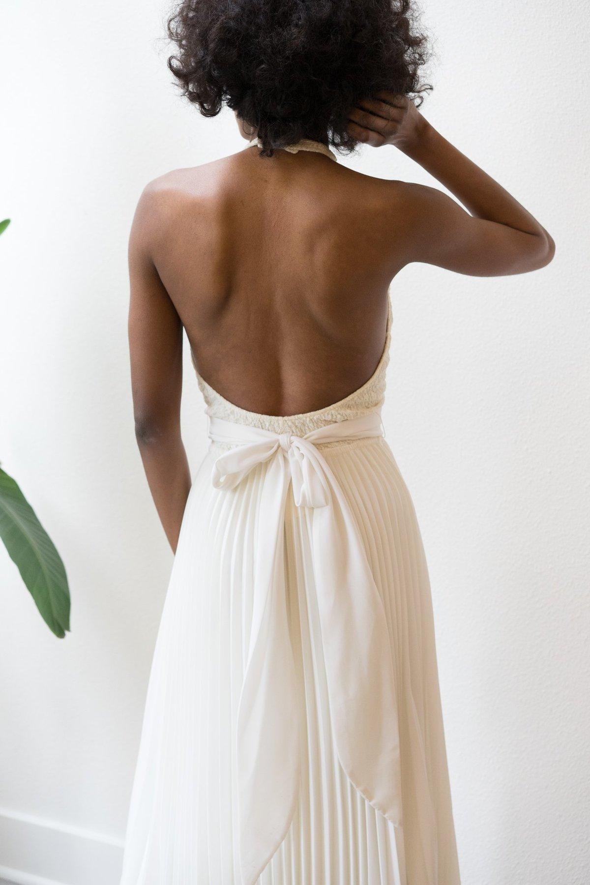 Backtalk pdx vintage wedding dress low back halter for Low back wedding dresses for sale