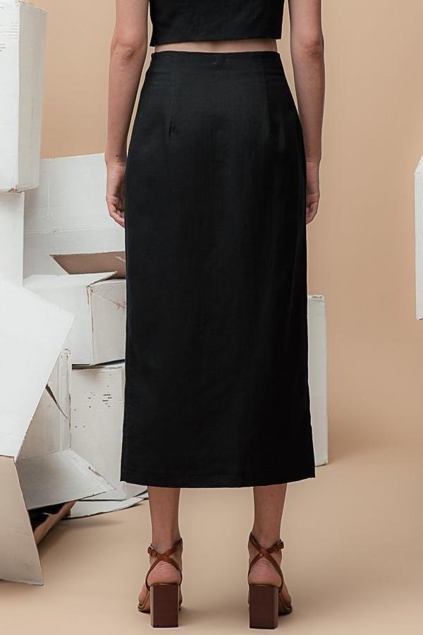 Waltz High-Waisted Long Skirt - Black