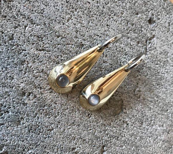 Quarry Poppy Hoop Earrings with Grey Moonstone