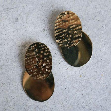 Modern Weaving Large Textured Ellipse Earrings in Brass