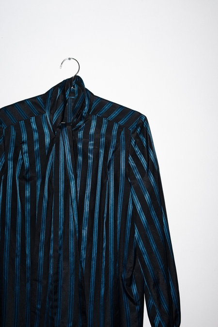 Clan of Cro Vintage STRIPED BLOUSE (SET - MATCHING BOTTOM) - BLACK/BLUE STRIPE