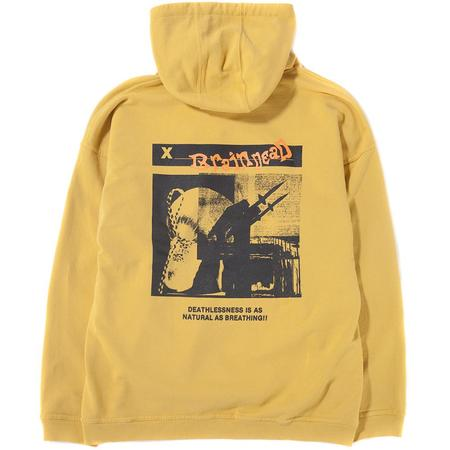 Brain Dead Missile Command Reverse Weave Pullover Hoodie - Mustard