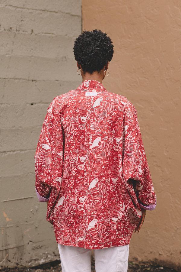 Two Way Kimono Coat - Red Bird