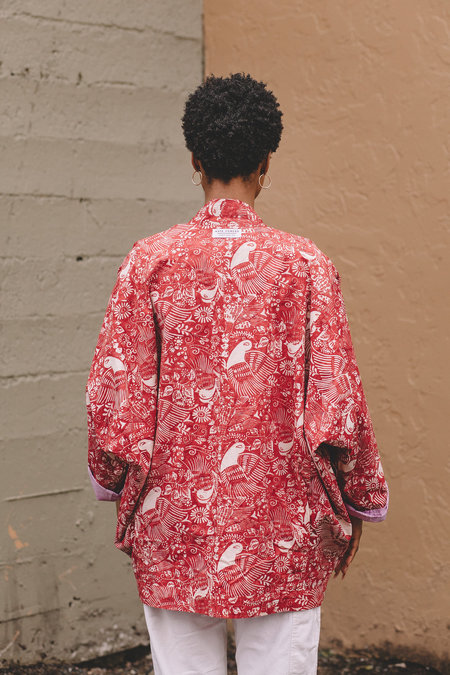 Two Way Kimono Coat - Red Bird