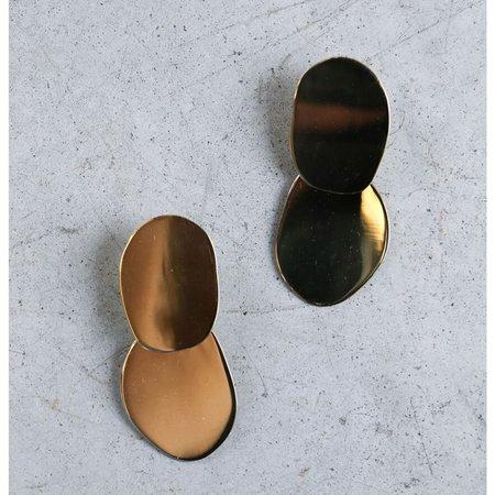 Modern Weaving Ellipse Set Earrings in High Polished Brass