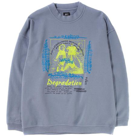 BRAIN DEAD DEGRADATION REVERSE WEAVE CREWNECK / WASHED BLUE