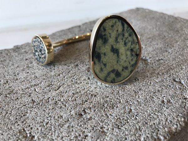Quarry Jaspe Double Cuff - Frogskin Serpentine & Speckle Jasper