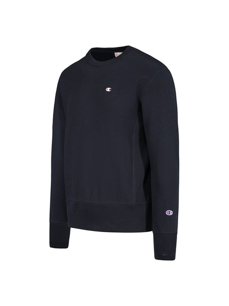 Champion Reverse Weave Terry Crew C Patch Sweatshirt - Navy