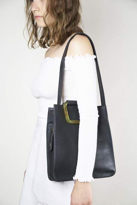 Clyde Rectangle Bag - Black Leather
