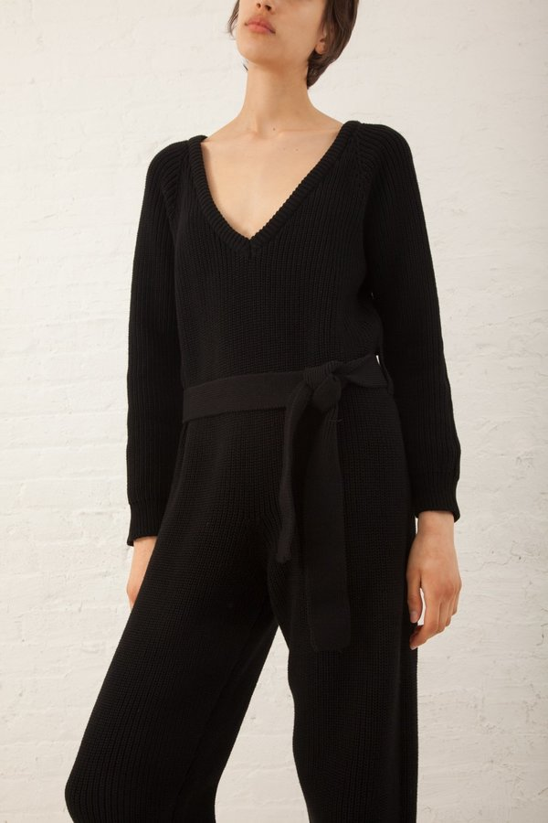 Baserange Danube Cotton Knit Jumpsuit - Black