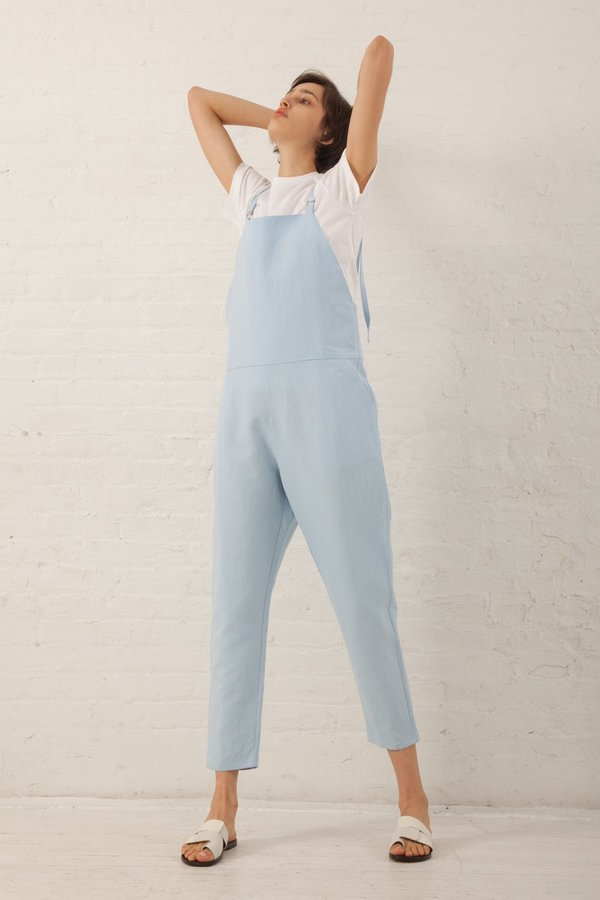 Baserange Long Strap Linen/Cotton Overall - Detian Blue