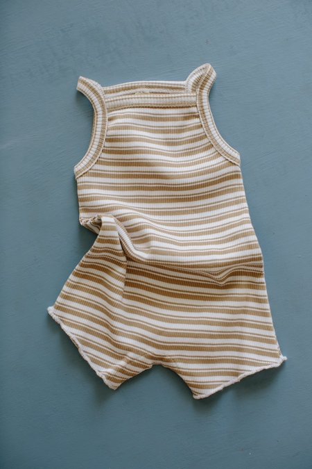 Kids Millk Weekly Onesie Romper - Tan Stripe