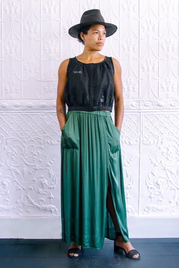 Raquel Allegra Jade Ribbon Maxi Skirt