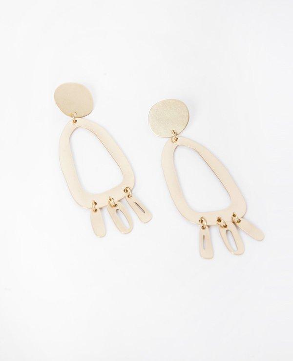 Modern Weaving Odd Oval Fringe Earrings