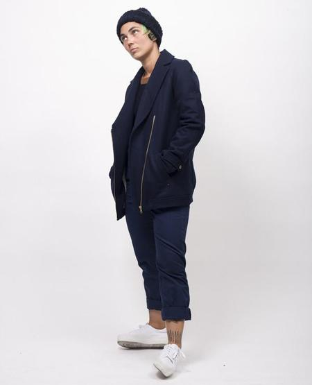 Super National Motorcycle Coat - Navy