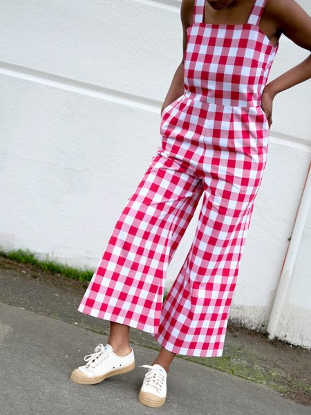Wolcott Takemoto Kate Jumpsuit - Carnation Gingham