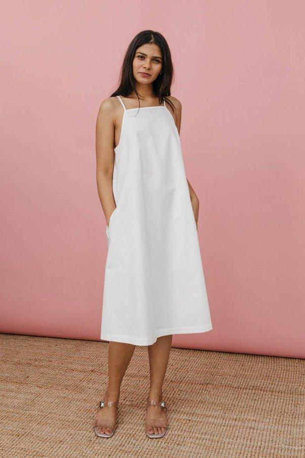 Wolcott : Takemoto Joni Dress In White Cotton