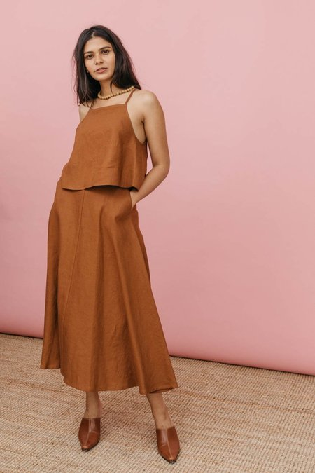 Wolcott : Takemoto Linen Shadow Skirt in Penny