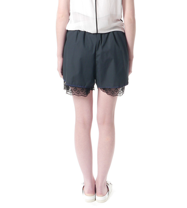 Sacai Luck Navy Jogging Shorts with Lace Under Layer