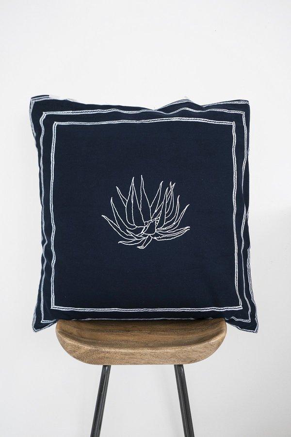 Karu Aloe Pillow Cover - Dark Indigo
