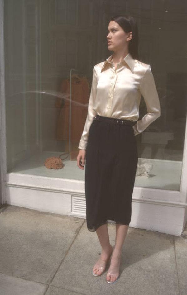 Carven Silk Georgette Skirt - Black