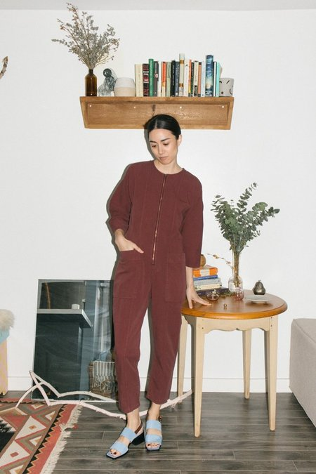 Apiece Apart Fit-Flare Flame Thrower Jumpsuit - Clove