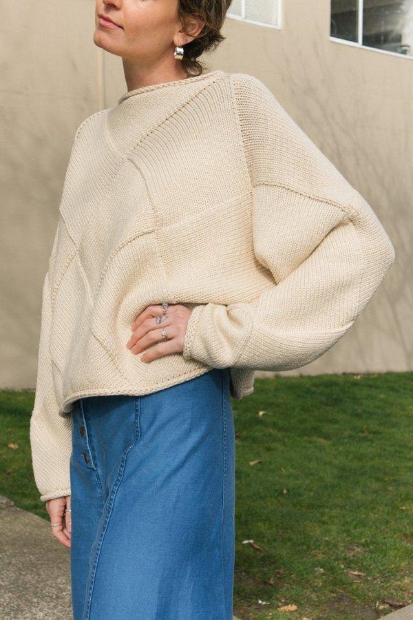 Lauren Manoogian Crop Entrelac Pullover Top - Crudo