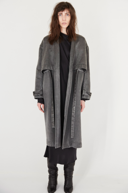 KES Tunneled Satin Trench Coat