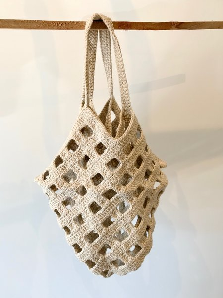 Lauren Manoogian Crochet Grid Bag in Natural