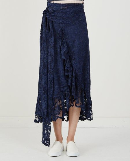 Ganni FLYNN LACE SKIRT - TOTAL ECLIPSE