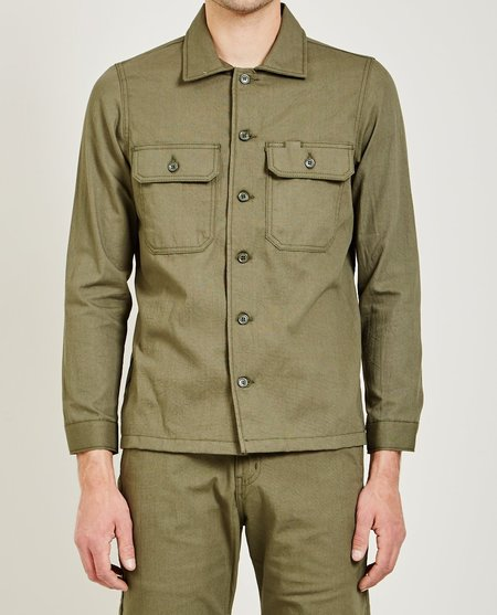 Naked & Famous GREEN RINSED OXFORD WORK SHIRT - GREEN