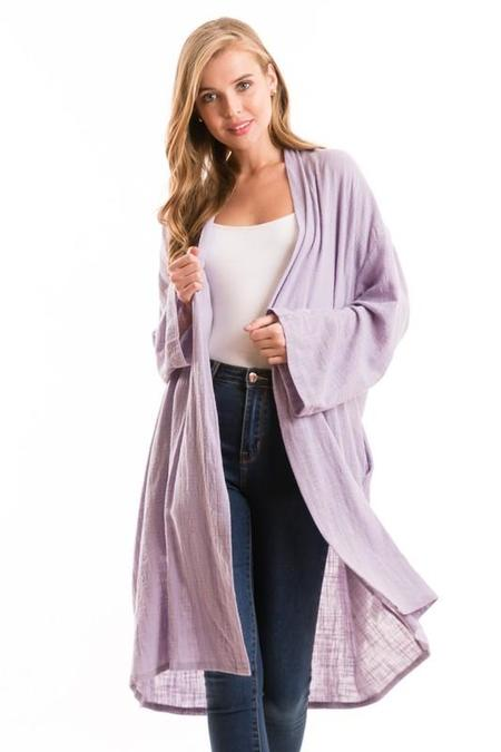 Love In Crinkle Cotton Robe - Lilac