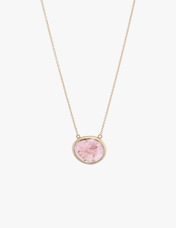 Kathryn Bentley Tourmaline Slice Necklace - Pink Rose/Gold