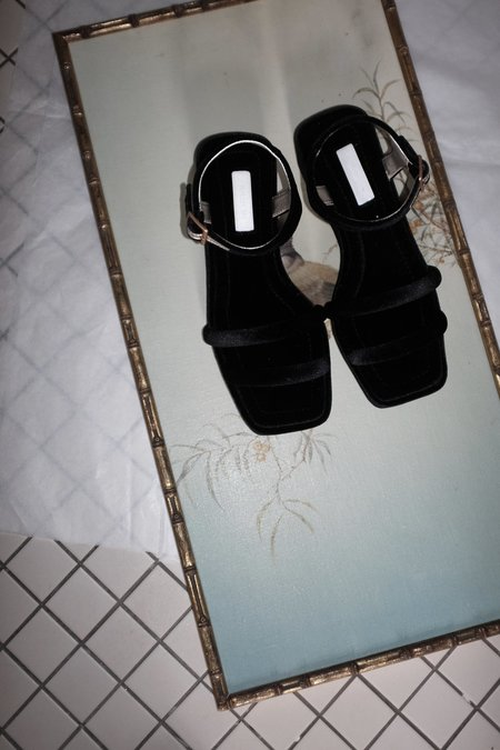 Suzanne Rae Velvet Platform Sandals - Black