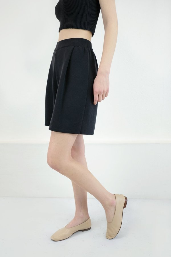 Micaela Greg Pleated Knit Short in Faded Black